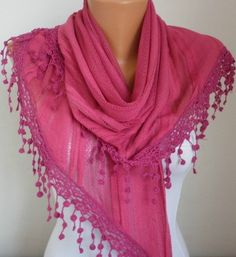 Valentine's Day GiftHot Pink Lace Scarf  Fall Accessories