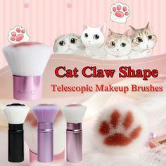 Eyeshadow Fiber Cat Claw Shape Makeup Brushes Powder Foundation Telescopic