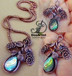 Copper wire wrapped Abalone Shell necklace