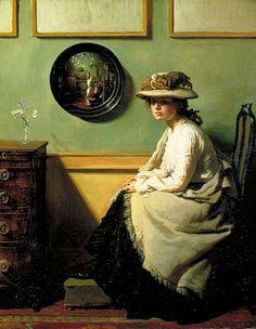 "Alternative book cover for Enchanted April by Elizabeth von Arnim. Sir William Orpen, ""The Mirror""."