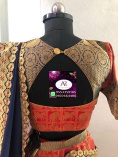 No photo description available. Blouse Designs High Neck, Simple Blouse Designs, Stylish Blouse Design, Fancy Blouse Designs, Lehnga Dress, Saree Blouse, Gold Mangalsutra, Siri, Hand Designs