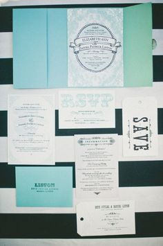 teal, black and white wedding invitations designed by the groom // photo by onelove-photo.com
