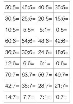 Karty na procvičování dělení- rozstříhat, dítě si napíše tužkou zezadu výsledek, procvičuje dělení, kartu kterou odpověděl správně, dá stranou ( zbydou ty , co je třeba natrénovat😉) Math Addition Worksheets, Math School, Multiplication, Tricks, Math Equations, Educational Activities, Math Word Problems, Disney Character Drawings, Math Resources