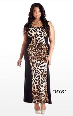 c1c0246ab Plus Size Running Free Animal Print Maxi Dress