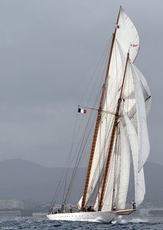 Schooner by Cyril Jarno Classic Sailing, Classic Yachts, Yacht Boat, Dinghy, Yacht Design, Motor Yacht, Sail Away, Wooden Boats, Tall Ships