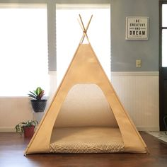 """Because Large Dogs need homes too!! The Xxl 48"""" base dog teepee by vintagekandyliving.etsy.com is perfect for #saintbernard #bullmastiff #greatdane #gentlegiants #decor #pet #doghouse #etsy"""