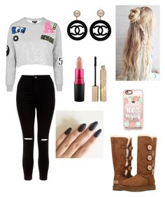 """🚺"" by larissa-coimbra on Polyvore featuring moda, Topshop, New Look, UGG Australia, Casetify, MAC Cosmetics, Stila e Chanel"