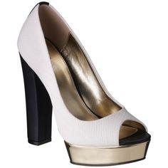 Womens Mossimo® Pearlynn Chunky Peep Toe Heels - Black/White