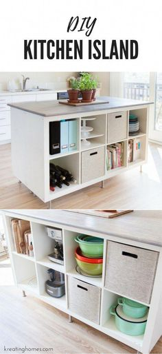 Check out this DIY Kitchen Island we created using old ikea bookshelves! The amount of storage and organization it will add to your kitchen makes this the ultimate ikea hack! in kitchen storage DIY Kitchen Island Kitchen Ikea, Diy Kitchen Island, Kitchen Decor, Kitchen Cabinets, Ikea Hack Kitchen, Decorating Kitchen, Kitchen Themes, Kitchen Counter Diy, Kitchen Dining