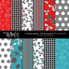 Gorgeous! #digitaldesigners Retro Flowers, Stripes, Diamonds and Dots, Digital Patterns in Red, Turquoise, Black, Grey and White, Scrapbook Papers - Design Group 108