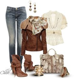 """""""Leather Jacket and Jeans"""" by chloe-813 ❤ liked on Polyvore"""