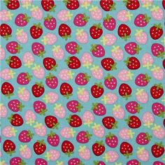 blue Riley Blake strawberry fabric from the USA