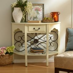 Add color and texture to your entryway with the expertise of an artisan by shopping the 'Cream Addison Console' from Kirkland's.