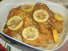 Cinco sentidos na cozinha: Frango à francesa - frango panado com molho de lim...