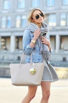Light blue jean jacket + scarf. With light grey joggers.