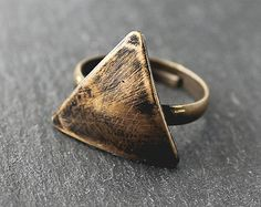 Antiqued Brass Triangle Ring
