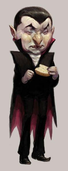 Dracula comendo pão de alho - by Adam Rex