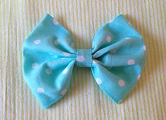 Aqua Polka Dot Fabric Bow $5.00
