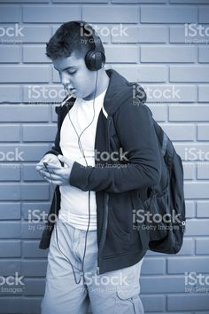 Boy Is Listening Music With Smartphone stock photo 108623497 - iStock