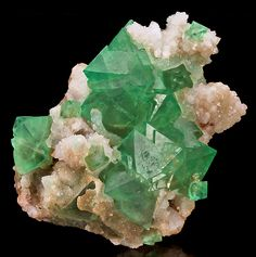 Gemmy green octahedrons of Fluorite in cluster with Quartz crystals and drusy accenting!From Riemvasmaak, Kakamas District, Northern Cape Province, South Africa.Measures 14.6 cm by 14.8 cm by 5.4 cm in total size.