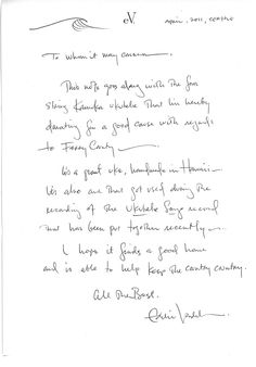 Eddie Vedder ukulele letter | A hand-written letter by Eddie Vedder of Pearl Jam describing the ukulele he donated to a Ferry County Rail Trail Partners fundraising auction. Vedder used the uke in his latest solo album.