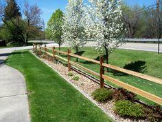 Front yard split rail