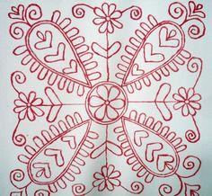 Embroidery Hungarian Kalotaszegi lóherés / Clover of Kalotaszeg Hungarian Embroidery, Folk Embroidery, Learn Embroidery, Chain Stitch Embroidery, Embroidery Stitches, Embroidery Patterns, Stitch Head, Last Stitch, Braided Line