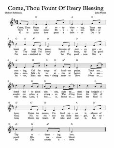 Free Sheet Music for Come Thou Fount Of Every Blessing. Enjoy!
