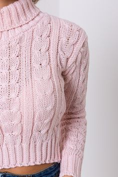 Thursday Treat...to me...love me! xXx Hot Crop Cable Knit Cropped Knitted Jumper Baby Pink