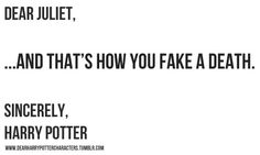 Harry's letter to Juliet.