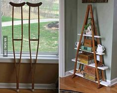 Turning old crutches into shelving by LittleJo