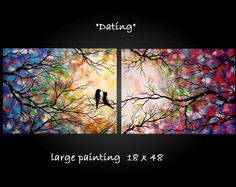 Large Abstract Love Birds Tree Painting by jmichaelpaintings, $149.99