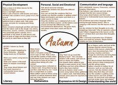 Medium term planning ideas for Autumn covering all 7 areas of Learning and Development from the bril Nursery Activities, Preschool Activities, Preschool Transitions, Preschool Seasons, Toddler Preschool, School Plan, Pre School, Worms Eye View, Learning Stories