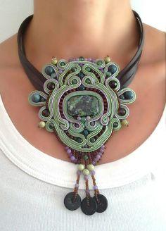 'Meadow' ooak soutache necklace, artistic jewelry, modern jewelry, bohemian necklace, ethnic necklace, handmade jewelry, jewelry artwork, unique design