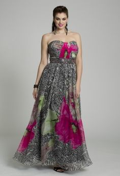 Be in bloom when you wear this fun plus-sized Camille La Vie Prom Dress.  Have a blast wearing this as a Guest of Wedding Dress or a fascinating party dress for any dressy event, occasion or soire.  The sweetheart styled neckline and micro-pleated bodice flatters the bustline while the beaded Grecian empire cummerbund gives a slimming look.  This dress acquires twirl appeal because of its flowy long skirt and the dynamic floral print over the intricate detail has dimension…it's a masterpiece ...