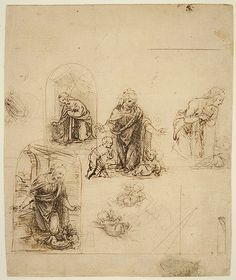 Studies for the Nativity (recto); Three Geometrical Diagrams and a Caricature of a Head (verso), 1480–85- Leonardo da Vinci