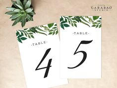 PRINTABLE Table Number Botanical DIGITAL Table Numbers Wedding Table Number - Little Carabao Studio - #EF109
