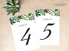 PRINTABLE Table Number Botanical DIGITAL Table Numbers Wedding Table Number - Little Carabao Studio - #EF110