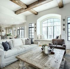rustic decorative beams on white ceiling for kitchen area (dark windows)