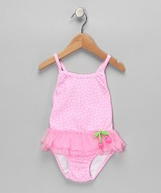 Take a look at this Pink Cherry Ruffle One-Piece - Infant, Toddler & Girls by Sweet Potatoes on #zulily today!