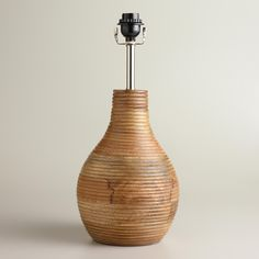 Wood Base Lamps: Ribbed Wood Table Lamp Base | World Market,Lighting