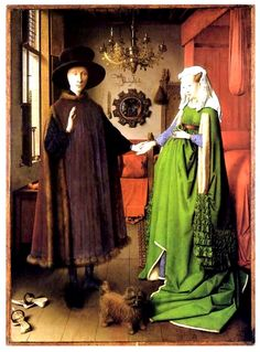 얀 반 에이크, <아르놀피니의 결혼>, 1441.   - 작품해설 : 이 작품에는 수많은 상징이 들어 있다. 샹들리에의 촛불은 신부가 신랑에게 주는 전통적인 선물이라고 한다. 한개의 촛불은 모든것을 보고 계시는 하느님의 눈과 하느님의 꺼지지 않는 빛을 상징한다. 오렌지는 순수와 정결 또는 원죄와 구원을 상징한다. 또한 신랑은 신고 있던 나막신을 벗고 있는데, 이는 예를 갖춤과 동시에 종교적인 신성함을 부각시키기 위해서라고 한다.    - 나의 감상 : 이 그림에는 작품해설에 쓰인 것들을 비롯해 수많은 상징이 숨어있다고 한다. 또, 한 가지 사물이 한 가지 상징으로 해석되는 것이 아니라 다양한 의미로 해석되어진다. 표면적으로는 결혼식을 그린 그림이지만, 보는 이의 관점과 해석의 기준에 따라 다양한 의미로 변형될 수 있는 그림이다. 이 작품에 그리스도교적인 상징물이 유난히 많이 등장한다는 점에서 나는 이 그림의 주제가 결혼식이 아니라 이면적 주제를 결혼식에 빗대어 표현한 작품처럼…