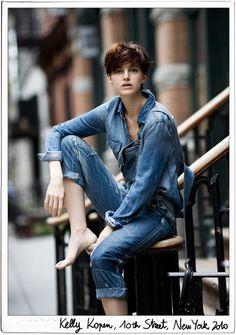 Denim shirt, denim jeans, short hair / Garance Doré