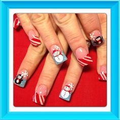 Winter and candy canes - Nail Art Gallery