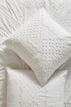 Embellished Fiona Euro Sham by Anthropologie in White, Bedding White Bedding, Linen Bedding, White Bedspreads, White Pillows, Bed Linens, Bohemian Bedding, Coastal Bedding, Pillowcases & Shams, Textiles
