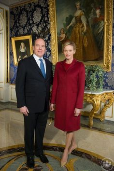 Noblesse & Royautés: Prince Albert and Princess Charlene at the Princely Palace Monaco-the Prince gave a message to the principality with the Princess also speaking at the end of his speech. Princess Stephanie, Princess Margaret, Princess Caroline, Princess Diana, Grace Kelly, Patricia Kelly, Princess Grace Children, Prince Albert Of Monaco, Albert Monaco