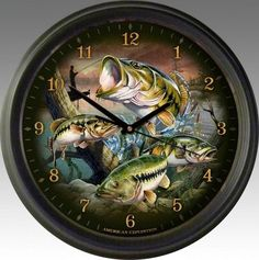 Largemouth Bass Collage 16-inch Wall Clock