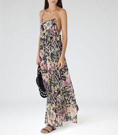 Reiss Kyra Women's Black Pleated Maxi Dress