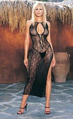 Vestido leg avenue largo con profundo escote en y estampado de remolinos Sexualis.es