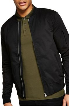 5076c745c97fab Muscle Fit Bomber Jacket, Main, color, Black Men s Coats And Jackets, Bomber
